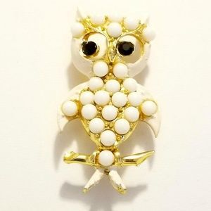 "Vintage Milk Glass Owl Brooch 2.25"" Tall"